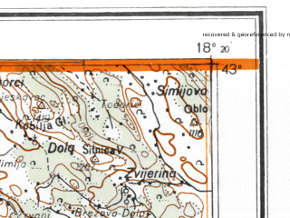 Reduced fragment of topographic map de--me--300k--1P43--(1945)--N043-00_E016-20--N042-00_E018-20; towns and cities Dubrovnik, Prozura, Blato, Brsecine