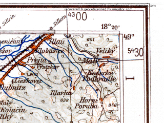 Reduced fragment of topographic map de--me--300k--1P49--(1944)--N049-00_E016-20--N048-00_E018-20 in area of Danau Strom; towns and cities Bratislava, Trencin, Nitra, Trnava, Piest'any