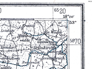 Reduced fragment of topographic map de--me--300k--1P53--(1940)--N053-00_E016-20--N052-00_E018-20; towns and cities Poznan, Gniezno, Konin, Inowroclaw, Koscian