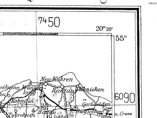 Reduced fragment of topographic map de--me--300k--1Q55--(1935)--N055-00_E018-20--N054-00_E020-20 in area of Zatoka Gdanksa; towns and cities Gdansk, Gdynia, Elblag, Sopot, Tczew