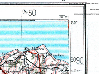 Reduced fragment of topographic map de--me--300k--1Q55--(1940)--N055-00_E018-20--N054-00_E020-20 in area of Zatoka Gdanksa; towns and cities Gdansk, Gdynia, Elblag, Tczew, Sopot
