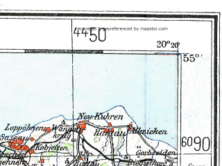 Reduced fragment of topographic map de--me--300k--1Q55--(1944)--N055-00_E018-20--N054-00_E020-20 in area of Zatoka Gdanksa; towns and cities Gdansk, Gdynia, Elblag, Tczew, Sopot