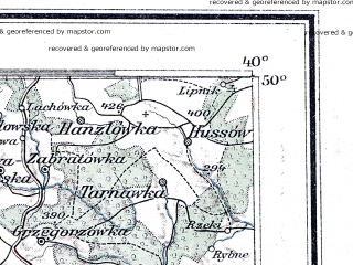 Reduced fragment of topographic map de--me--300k--1R50--(1915)--N050-00_E020-20--N049-00_E022-20; towns and cities Nowy Sacz, Gorlice, Jaslo, Krosno, Limanowa