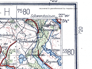 Reduced fragment of topographic map de--me--300k--1R54--(1936)--N054-00_E020-20--N053-00_E022-20 in area of Jezioro Sniardwy; towns and cities Olsztyn, Ostroleka, Lomza, Biala Piska, Pisz
