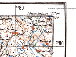 Reduced fragment of topographic map de--me--300k--1R54--(1944)--N054-00_E020-20--N053-00_E022-20 in area of Jezioro Sniardwy; towns and cities Olsztyn, Szczytno, Ostroleka, Lomza, Nidzica
