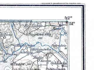 Reduced fragment of topographic map de--me--300k--1S51--(1910)--N051-00_E022-20--N050-00_E024-20; towns and cities Novovolynsk, Chervonograd, Jaroslaw, Bilgoraj, Zamosc