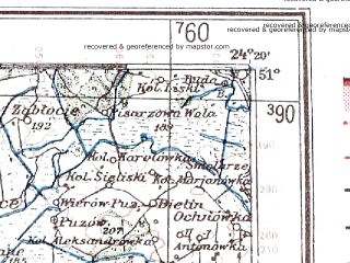 Reduced fragment of topographic map de--me--300k--1S51--(1941)--N051-00_E022-20--N050-00_E024-20; towns and cities Novovolynsk, Chervonograd, Vladimir-volynskiy, Jaroslaw, Bilgoraj