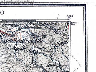 Reduced fragment of topographic map de--me--300k--1S55--(1913)--N055-00_E022-20--N054-00_E024-20; towns and cities Kaunas, Alitus, Suwalki, Kapsukas, Druskininkay