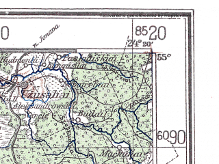 Reduced fragment of topographic map de--me--300k--1S55--(1940)--N055-00_E022-20--N054-00_E024-20; towns and cities Kaunas, Alitus, Suwalki, Kapsukas, Druskininkay