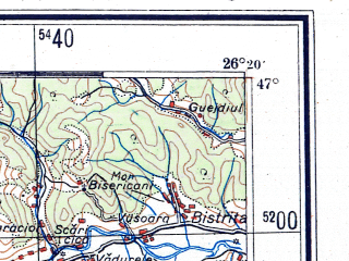Reduced fragment of topographic map de--me--300k--1T47--(1944)--N047-00_E024-20--N046-00_E026-20; towns and cities Tirgu Mures, Medias, Reghin, Sighisoara, Miercurea Ciuc