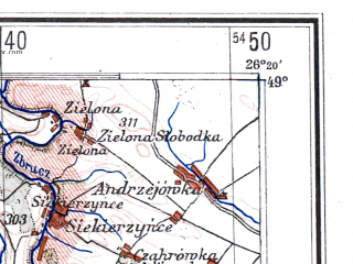 Reduced fragment of topographic map de--me--300k--1T49--(1943)--N049-00_E024-20--N048-00_E026-20; towns and cities Chernovtsy, Ivano-frankovsk, Kolomyya, Storozhinets, Nadvornaya