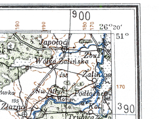 Reduced fragment of topographic map de--me--300k--1T51--(1941)--N051-00_E024-20--N050-00_E026-20; towns and cities Rovno, Lutsk, Dubno, Zdolbunov, Kremenets