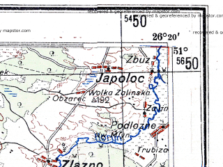 Reduced fragment of topographic map de--me--300k--1T51--(1944)--N051-00_E024-20--N050-00_E026-20; towns and cities Rovno, Lutsk, Dubno, Zdolbunov, Kremenets