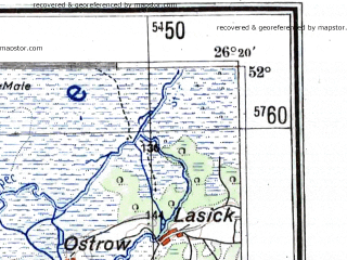 Reduced fragment of topographic map de--me--300k--1T52--(1943)--N052-00_E024-20--N051-00_E026-20; towns and cities Kovel', Vladimirets, Ratno, Kamen'-kashirskiy, Cherche