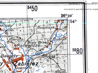 Reduced fragment of topographic map de--me--300k--1T54--(1943)--N054-00_E024-20--N053-00_E026-20; towns and cities Baranovichi, Lida, Slonim, Volkovysk, Novogrudok