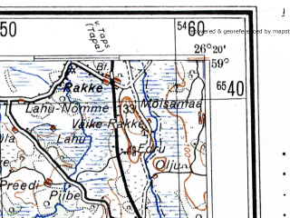 Reduced fragment of topographic map de--me--300k--1T59--(1943)--N059-00_E024-20--N058-00_E026-20 in area of Vortsjarv; towns and cities Pyarnu, Vil'yandi, Payde, Tyuri, Joarjo