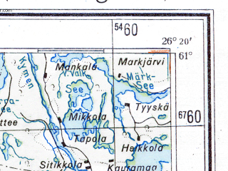 Reduced fragment of topographic map de--me--300k--1T61--(1943)--N061-00_E024-20--N060-00_E026-20 in area of Porvoonjoki, Vantaanlogi; towns and cities Helsinki, Vantaa, Espoo, Lahti, Jarvenpaa