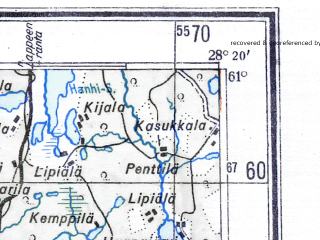 Reduced fragment of topographic map de--me--300k--1U61--(1943)--N061-00_E026-20--N060-00_E028-20 in area of Kymijoki, Tammijarvi, Kymijoki; towns and cities Kotka, Kouvola, Kuusankoski, Anjalankoski, Hamina