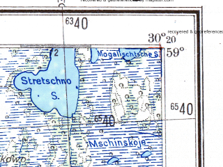 Reduced fragment of topographic map de--me--300k--1V59--(1943)--N059-00_E028-20--N058-00_E030-20; towns and cities Luga, Sol'tsy, Tolmachevo, Torkovichi, Plyussa