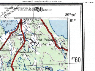 Reduced fragment of topographic map de--me--300k--1V61--(1942)--N061-00_E028-20--N060-00_E030-20 in area of Muolanjarvi; towns and cities Vyborg, Sestroretsk, Pargolovo, Vysotsk, Zelenogorsk