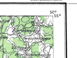 Reduced fragment of topographic map de--me--300k--1W55--(1929)--N055-00_E030-20--N054-00_E032-20; towns and cities Smolensk, Orsha, Gorki, Rudnya, Mstislavl'