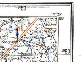 Reduced fragment of topographic map de--me--300k--1W55--(1943)--N055-00_E030-20--N054-00_E032-20; towns and cities Smolensk, Orsha, Gorki, Rudnya, Mstislavl'