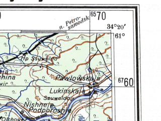 Reduced fragment of topographic map de--me--300k--1X61--(1942)--N061-00_E032-20--N060-00_E034-20 in area of Lake Ladoga; towns and cities Lodeynoye Pole, Podporozh'ye, Olonets, Sviritsa, Syas'stroy