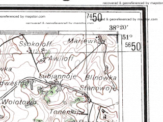 Reduced fragment of topographic map de--me--300k--1Z51--(1942)--N051-00_E036-20--N050-00_E038-20; towns and cities Belgorod, Valuyki, Shebekino, Volchansk, Novyy Oskol