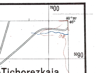 Reduced fragment of topographic map de--me--300k--2a46--(1942)--N046-00_E038-20--N045-00_E040-20; towns and cities Krasnodar, Tikhoretsk, Korenovsk, Pashkovskiy, Timashevsk