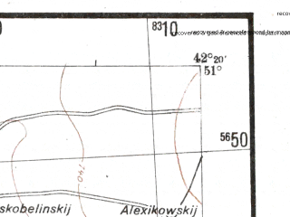Reduced fragment of topographic map de--me--300k--2b51--(1942)--N051-00_E040-20--N050-00_E042-20; towns and cities Uryupinsk, Buturlinovka, Kalach, Verkhniy Mamon, Vorob'yevka