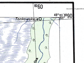 Reduced fragment of topographic map de--me--300k--2b63--(1941)--N063-00_E040-20--N062-00_E042-20; towns and cities Podvolochye, Rakovskaya, Stozozhevskaya