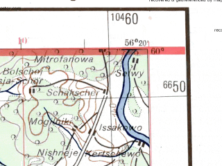 Reduced fragment of topographic map de--me--300k--2i60--(1942)--N060-00_E054-20--N059-00_E056-20; towns and cities Kudymkar, Pozhva, Maykor, Taman, Basim