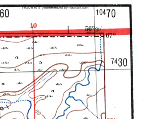 Reduced fragment of topographic map de--me--300k--2i67--(1942)--N067-00_E054-20--N066-00_E056-20; towns and cities Denisovka, Kacha, Laya