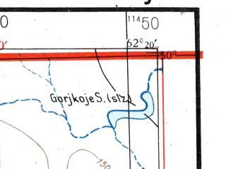 Reduced fragment of topographic map de--me--300k--2l50--(1941)--N050-00_E060-20--N049-00_E062-20 in area of K-l Tegissor; towns and cities Akkol, Balpan, Baskuduk