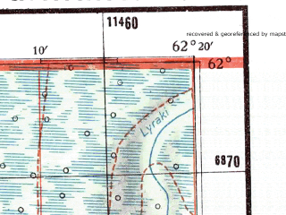 Reduced fragment of topographic map de--me--300k--2l62--(1942)--N062-00_E060-20--N061-00_E062-20; towns and cities Burmantovo, Yuftymsospaul