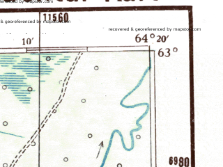 Reduced fragment of topographic map de--me--300k--2m63--(1942)--N063-00_E062-20--N062-00_E064-20; towns and cities Khanlazin, Shukhtungort