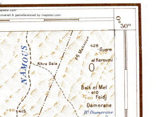 Reduced fragment of topographic map de--me--500k--h30-so--(1942)--N030-00_W003-00--N028-00_W000-00 in area of Sebkha El Mellah; towns and cities Charouine
