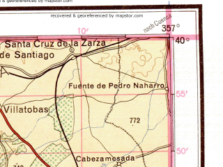 Reduced fragment of topographic map de--me--500k--j30-nw--(1944)--N040-00_W006-00--N038-00_W003-00 in area of Guadiana, Zujar, Guadiana; towns and cities El Molinillo, Logrosan, Villanueva De La Serena