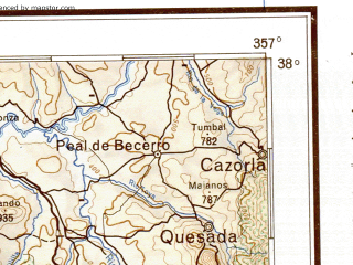 Reduced fragment of topographic map de--me--500k--j30-sw--(1944)--N038-00_W006-00--N036-00_W003-00 in area of Genil, Genil, Bahia De Malaga; towns and cities Seville, Malaga, Granada, Cordoba, Jaen