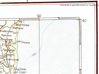 Reduced fragment of topographic map de--me--500k--j33-no--(1943)--N040-00_E015-00--N038-00_E018-00 in area of Golfo Di Squillace, Golfo Di S. Eufemia, Stretto Di Messina; towns and cities Messina, Cosenza, Catanzaro, Reggio Di Calabria, Crotone