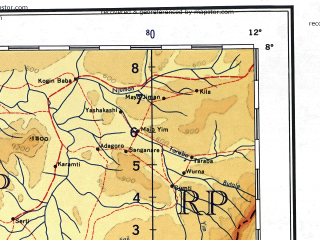 Reduced fragment of topographic map en--ams--001m--nb32--(1957)--N008-00_E006-00--N004-00_E012-00 in area of Bight Of Bonny, Lac De Bamendjing, Cross; towns and cities Douala, Aba, Port Harcourt, Bafoussam, Nkongsamba