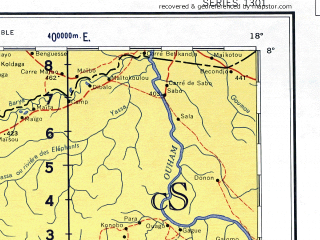Reduced fragment of topographic map en--ams--001m--nb33--(1957)--N008-00_E012-00--N004-00_E018-00 in area of Lac De Mbakaou; towns and cities Ngaoundere, Bouar, Bossangoa, Bocaranga, Bossembele