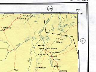Reduced fragment of topographic map en--ams--001m--nb35--(1957)--N008-00_E024-00--N004-00_E030-00; towns and cities Delbeng, Faraj Allah, Solonga