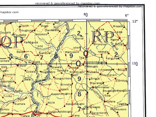 Download topographic map in area of Odienne Kankan Sefadu