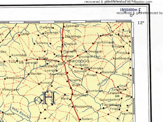 Download topographic map in area of Bobodioulasso Tamala Sikasso