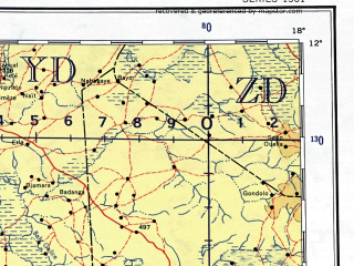 Reduced fragment of topographic map en--ams--001m--nc33--(1957)--N012-00_E012-00--N008-00_E018-00 in area of Logone, Logone Occidental; towns and cities Maiduguri, Maroua, Garoua, Jada, Nugurosoye