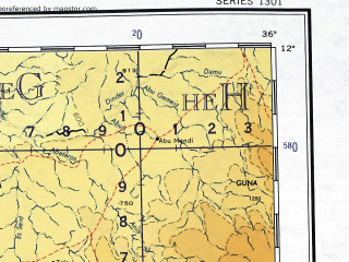 Reduced fragment of topographic map en--ams--001m--nc36--(1957)--N012-00_E030-00--N008-00_E036-00 in area of Khazzan Ar Rusayris; towns and cities Adeiri, Nyiwudo, Wunanyak