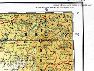 Reduced fragment of topographic map en--ams--001m--nc48--(1957)--N012-00_E102-00--N008-00_E108-00 in area of Chak Kanpong Saom, Cu'a Soi Rap, Tien Giang; towns and cities Ho Chi Minh City, Bien Hoa, Can Tho, Phnom Penh, Phsar Ream