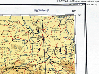 Reduced fragment of topographic map en--ams--001m--nf44--(1957)--N024-00_E078-00--N020-00_E084-00; towns and cities Nagpur, Khamarpanj, Amabera, Pasan