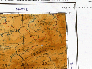 Reduced fragment of topographic map en--ams--001m--nh29--(1957)--N032-00_W012-00--N028-00_W006-00; towns and cities Marrakech, Touzounine, Oukaimedene, Sidi Rahhal